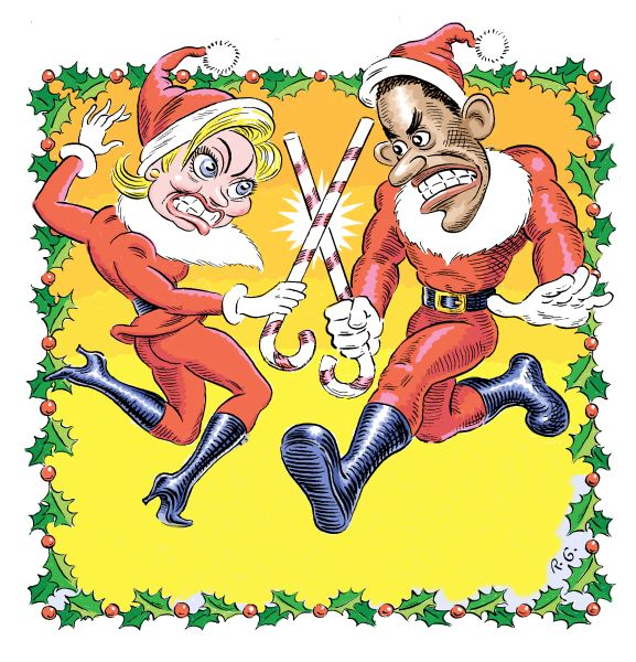 Hillary Clinton and Barack Obama dueling in santa Outfits.