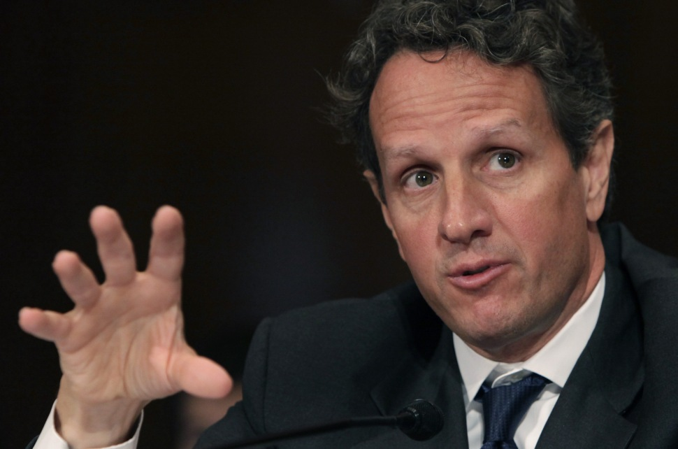 US Treasury Secretary Timothy Geithner testifies before the Senate Finance Committee hearing on US China relationship on Capitol Hill in Washington, DC June 10, 2010. China's refusal to revalue its currency is impeding global economic reforms, US Treasury Secretary Timothy Geithner said Thursday amid pressure from Congress to impose sanctions on the Asian giant. AFP PHOTO/YURI GRIPAS (Photo credit should read YURI GRIPAS/AFP/Getty Images)