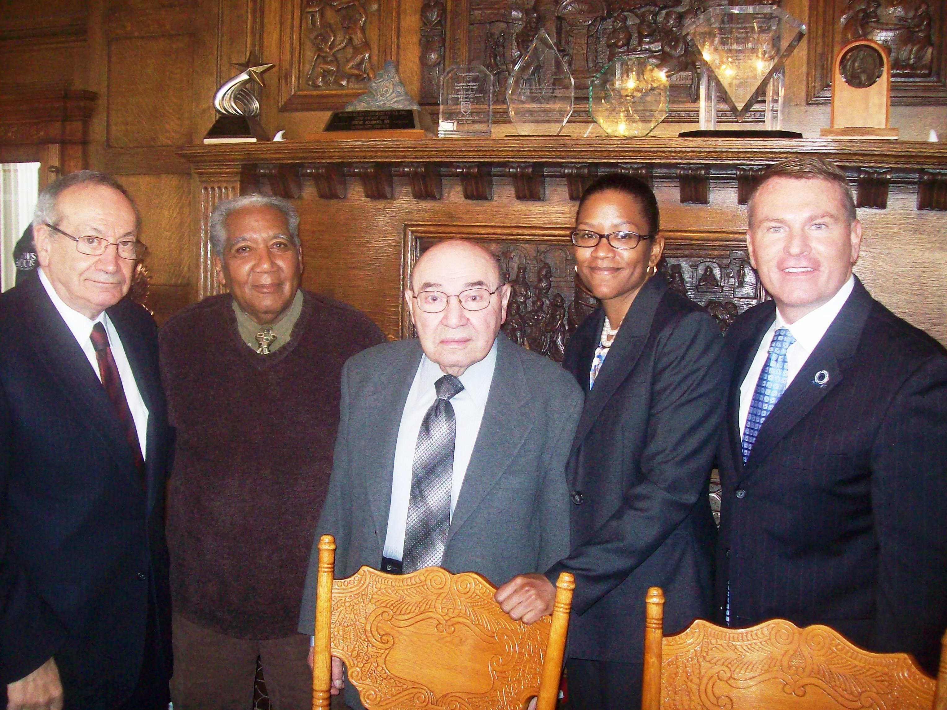 Left to right: Steve Adubato, Sr., George Richardson, Robert Sarcone, Assemblywoman Grace Spencer (D-Newark), and Essex County Clerk Christopher Durkin