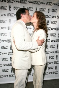 David O. Russell and Melissa Leo in matching summer suits at the Ghetto Film School spring benefit. (Patrick McMullan)