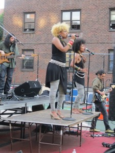 The Les Nubians on their makeshift stage