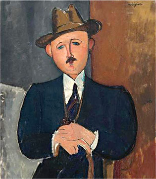 Seated Man With A Cane, 1918, by Amadeo Modigliani.