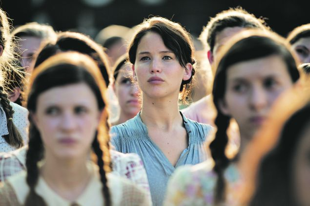 Jennifer Lawrence as Katniss in The Hunger Games.