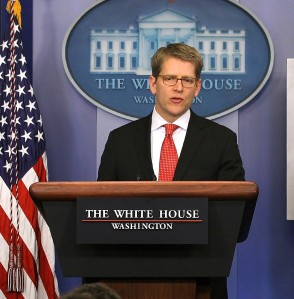 Jay Carney at a White House press briefing last March. (Photo: Getty)