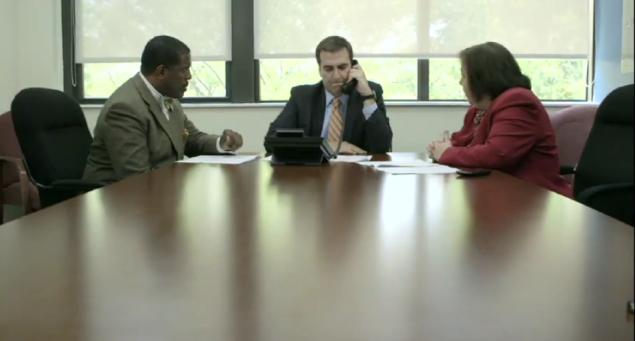 Mike Gianaris sits at the table with Senators Kevin Parker and Liz Krueger (Screengrab: Youtube).