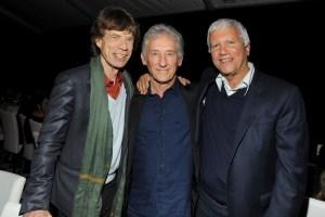 Mick Jagger, Ed Ruscha and Larry Gagosian. (Courtesy Patrick McMullan)