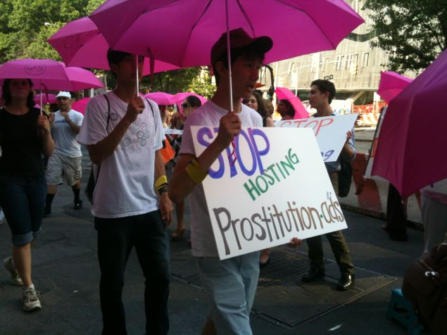 Activists protest Backpage's underage prostitution ads in 2012. A dissenting opinion in a Washington Supreme Court case says Backpage cannot be held liable for the content of those ads. (Photo: Melissa Gira Grant/Observer)