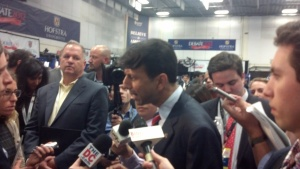 Bobby Jindal on the media filing room floor.