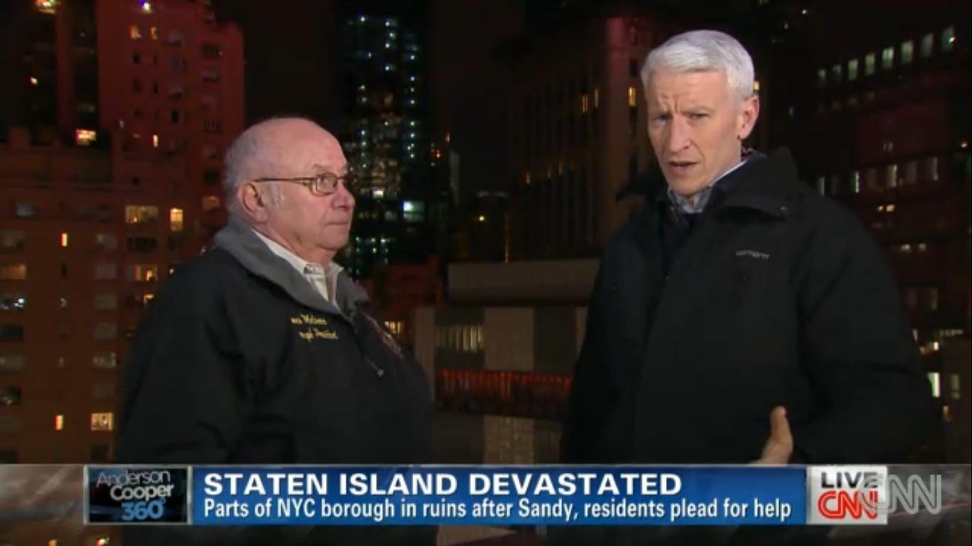 Former Staten Island Borough President James Molinaro, left, with CNN anchor Anderson Cooper (Screengrab: CNN).
