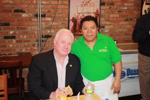 Martin Golden, with the sandwich that bears his name (Photo: Senator Martin Golden).