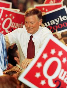 Dan Quayle announcing his brief, unsuccessful presidential campaign in 1999. (Photo: Getty)