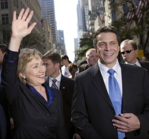 Hillary Clinton and Andrew Cuomo at the Columbus Day Parade in 2006. Photo: Getty)