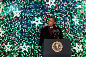 President Obama speaks during the 90th annual National Christmas Tree Lighting (Photo: Getty)