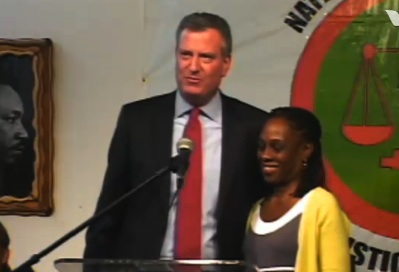Bill de Blasio and Chirlane McCray at this morning's rally.