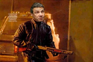 "Our very own ""governator,"" an artist's rendition of Andrew Cuomo with his shotgun."
