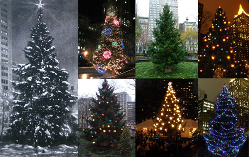 The Madison Square tree through the years.