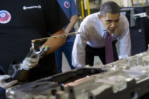 Meanwhile, President Obama visited Detroit yesterday. (Photo: Getty)