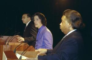 In 1997, Democratic mayoral candidates Al Sharpton, Ruth Messinger and Sal Albanese  debate. (Photo: Getty)