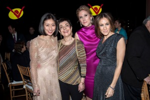 Adelina Wong Ettelson, Cora Cahan, Fiona Howe Rudin and Sarah Jessica Parker at the New Victory Theater Council for the Arts.(JONATHAN ZIEGLER/PatrickMcMullan.com) ==