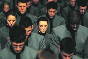 Cadets in prayer at West Point. (Getty)