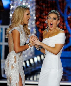 Ali Rogers, left, Miss South Carolina, and Mallory Hytes Hagan, Miss New York, react after the announcement of the new Miss America.