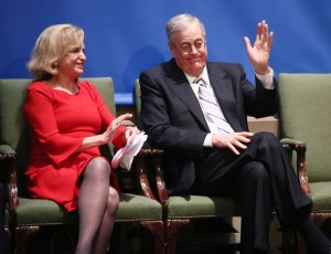 Congresswoman Carolyn B. Maloney and Philanthropist, David H. Koch attend the Fifth Avenue Plaza Groundbreaking at the Metropolitan Museum of Art. (Courtesy Getty Images)