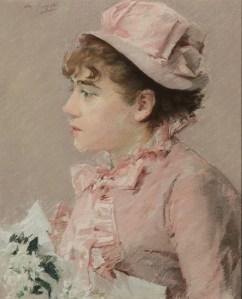 Eva Gonzalès, La demoiselle d'honneur, 1879, estimated $400,000 - $600,000, sold $2,546,500 (Hammer Price with Buyer's Premium)