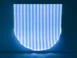 Daniel Buren, 'Photo-souvenir: Optical Fiber White and Blue Half Circle Situated Work,' 2012. (Courtesy the artist and Bortolami Gallery)