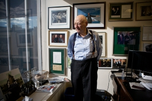 Ed Koch standing in his Midtown office on January 18. (Photo: Emily Anne Epstein)