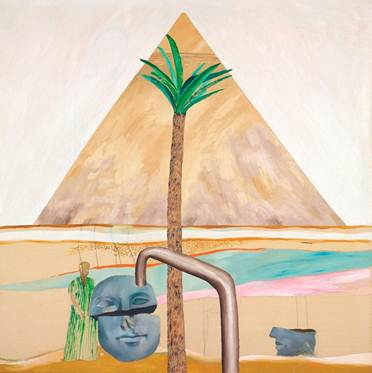 """David Hockney, """"Great Pyramid at Giza with Broken Head from Thebes,"""" 1963. (Courtesy Christie's)"""