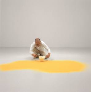 The artist sifting pollen from hazelnut, 2003. Installation: Toyota Municipal Museum of Art, Toyota, 2003 (Courtesy MoMA)