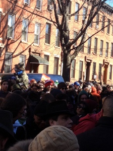 The crowd outside Mr. de Blasio's home.