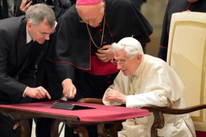 The Pope sends his first ever tweet from an iPad at the Vatican in December. (Getty Images)