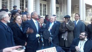 Councilman Robert Jackson speaking at the press conference.