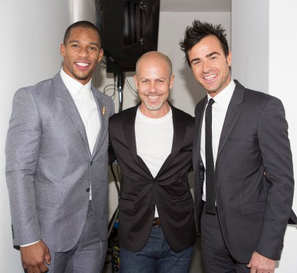 Victor Cruz, Italo Zucchelli and Justin Theroux at the Calvin Klein show in Milan.