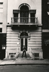 Seth Siegelaub in front of 44 East 52nd Street, which housed one of his shows. (Courtesy Museum of Modern Art)