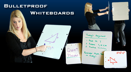A model demonstrates the world's most secure whiteboard. (Hardwire LLC)