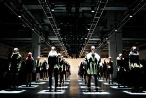 "Models wearing Prabal Gurung's ""Regiment"" collection at Fashion Week."