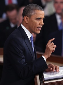 President Barack Obama delivering his State of the Union address this evening. (Photo: Getty)