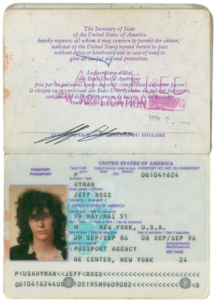 Joey Ramone's passport. (Courtesy of RR Auction)