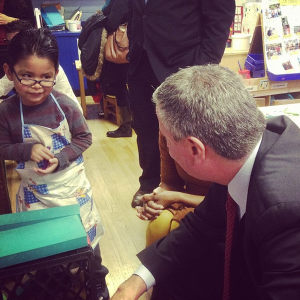 Bill de Blasio's Twitter criticism included a photo of a child he said would be harmed by Speaker Quinn's agenda. (Photo: @deBlasioNYC)