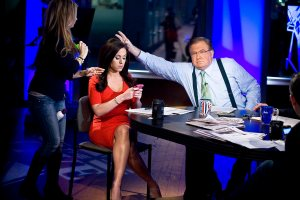 Co-host Bob Bechtel and Ms. Tantaros during a commercial break.