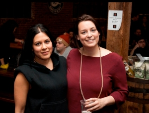 Food Republic's Eva Karagiorgas and, left, Tumblr's Jen Pelka at their companies' co-hosted Super Bowl party.  (Photo by Jason Burke.)