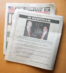 John Catsimatidis' memorial to Ed Koch.
