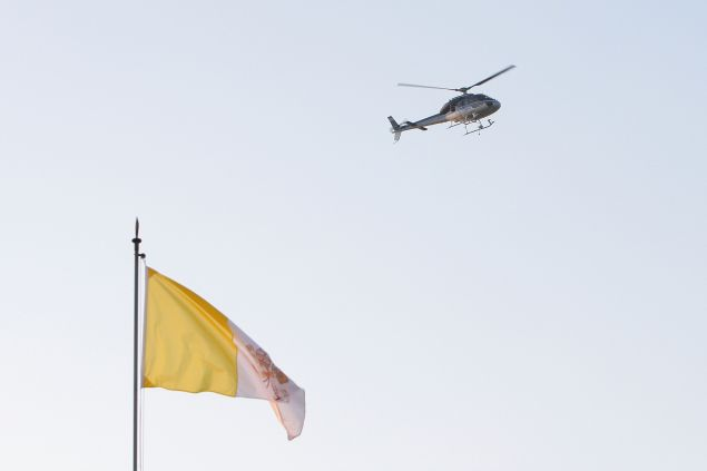 Pope Benedict XVI departing Vatican City by helicopter. (Getty Images)