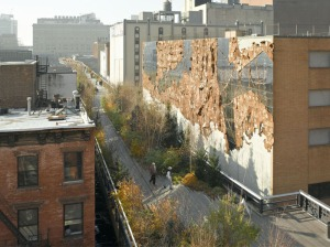 El Anatsui's 'Broken Bridge II,' 2012, remains on view on the High Line through this summer. (Photo by Austin Kennedy/High Line, courtesy the artist and Jack Shainman Gallery.