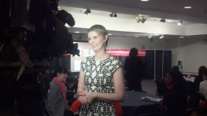 Cynthia Nixon giving an interview.