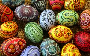 Easter eggs adorned in traditional Sorbi