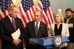 Chuck Schumer, Michael Bloomberg, Kirsten Gillibrand and Hunter Walker at the U.S. Capitol Building. (Photo: NycMayorsOffice on Flickr)