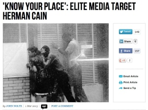 The photo that illustrated the Breitbart.com story on Herman Cain.